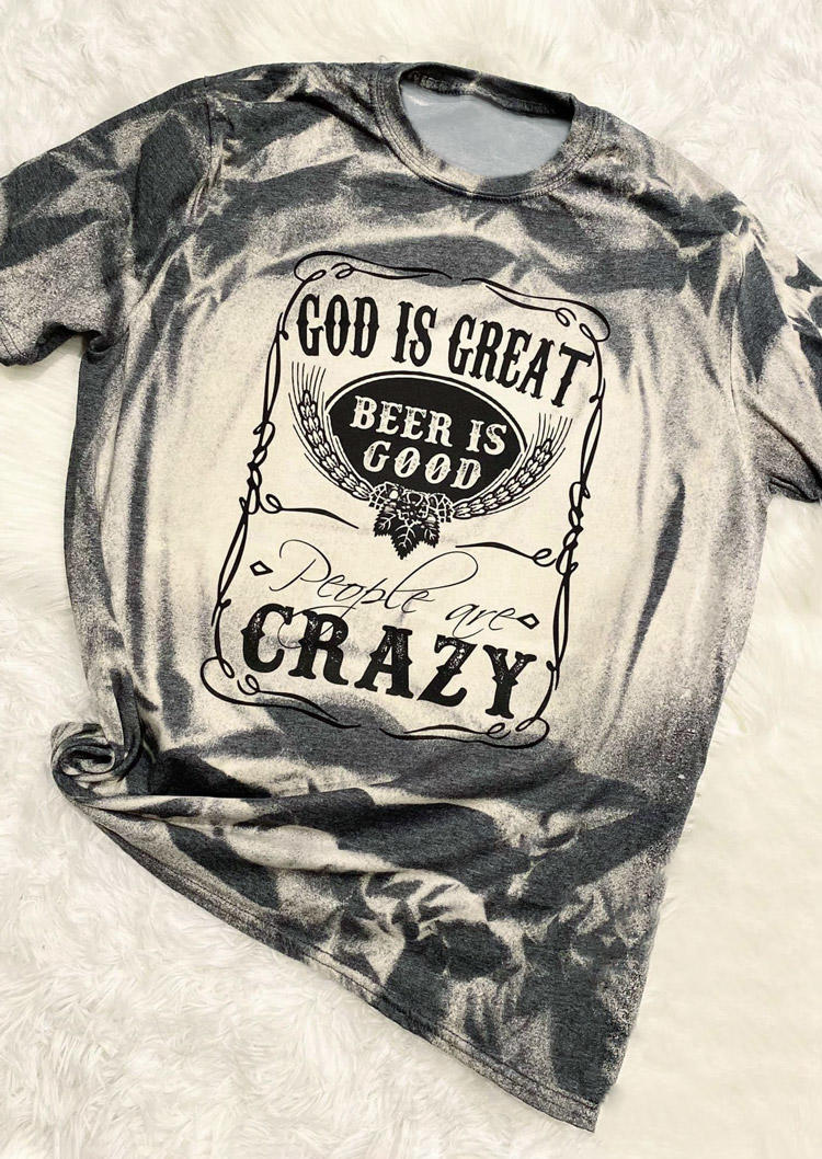 T-shirts Tees God Is Great Beer Is Good T-Shirt Tee in Gray. Size: ,M,L,XL