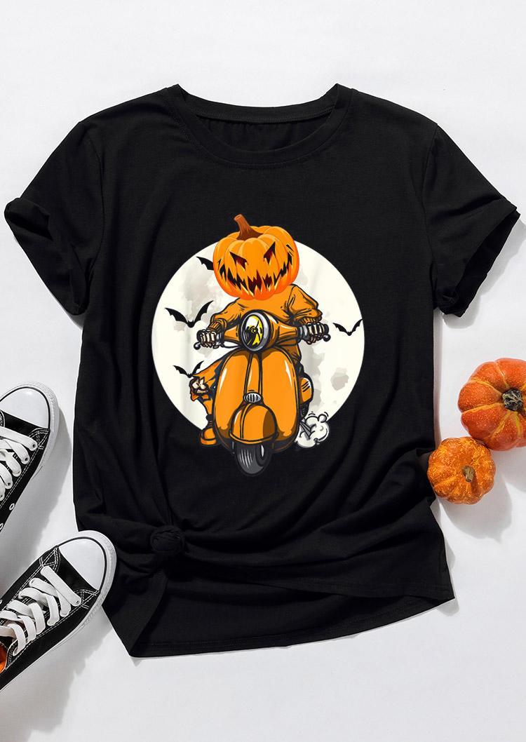 Halloween Scary Pumpkin Bat Motorcycle T-ShirtTee - Black