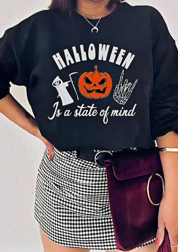 Halloween Pumpkin Skeleton Pullover Sweatshirt - Black