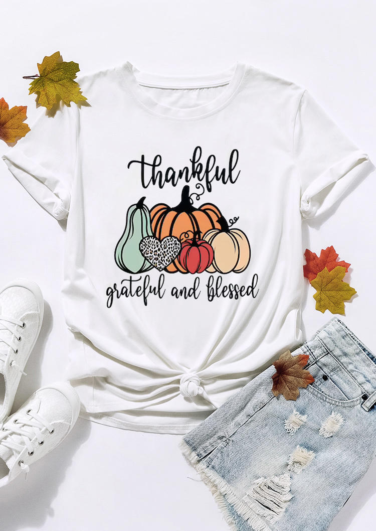 Thankful Grateful And Blessed Pumpkin Leopard T-ShirtTee - White