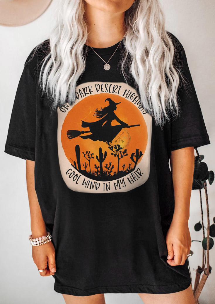 Halloween Witch O-Neck T-Shirt Tee - Black
