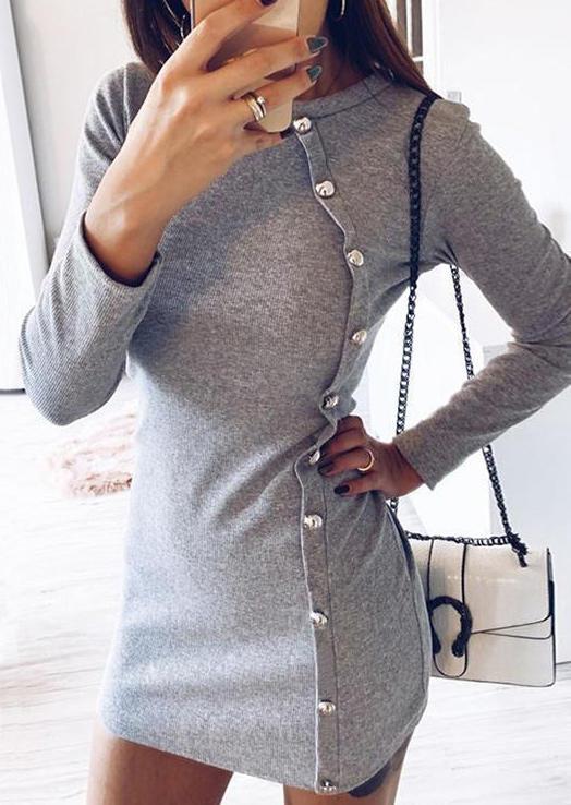 Button LongSleeve O-Neck Mini Dress - Gray