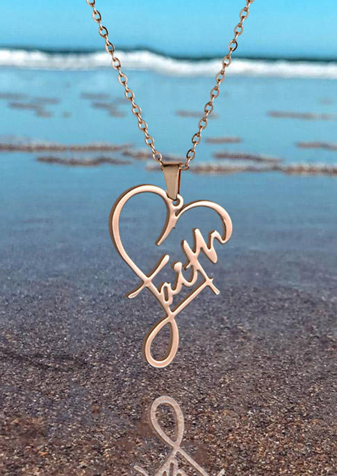 Faith Heart Alloy Pendant Necklace