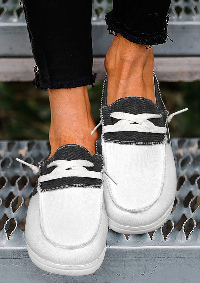 Striped Color Block Slip On Flat Canvas Sneakers