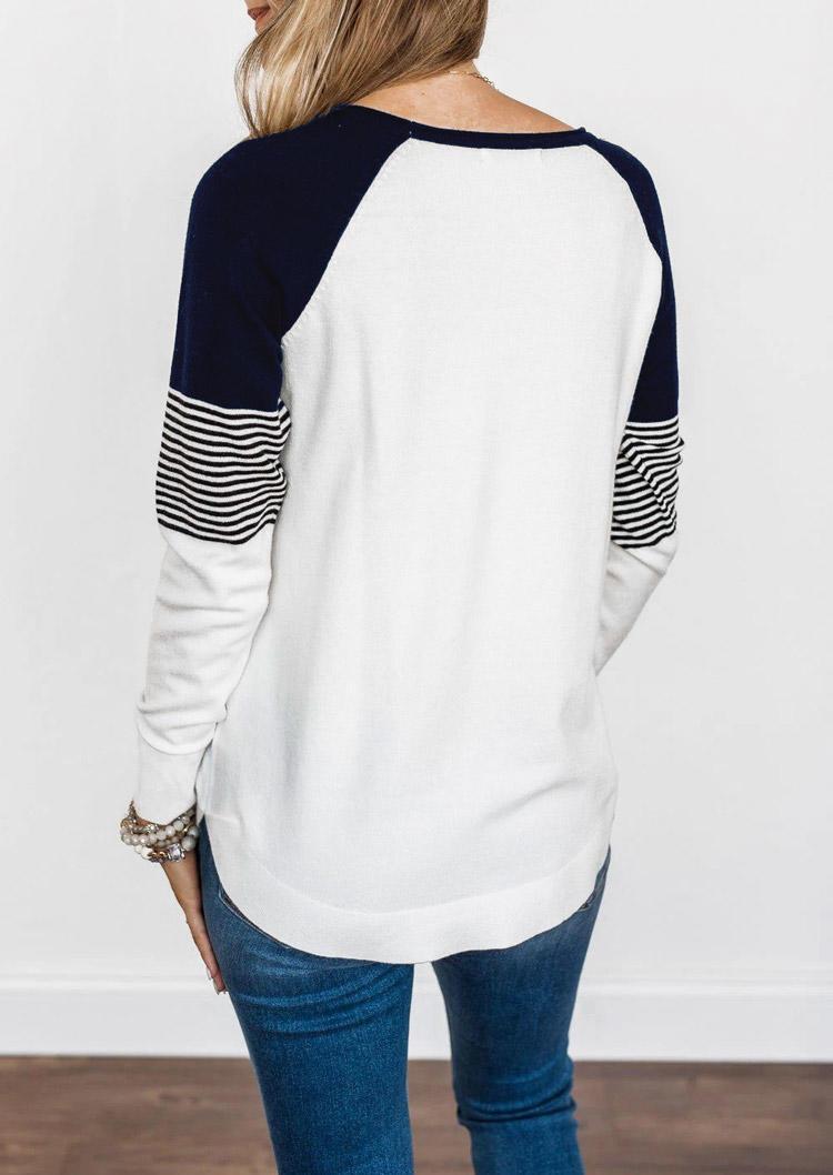 Striped Splicing LongSleeve Blouse - White