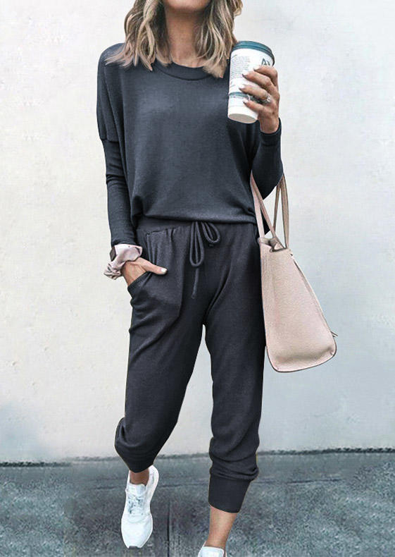 Blouse And Pocket Drawstring Pants Two-Piece Set - Dark Grey