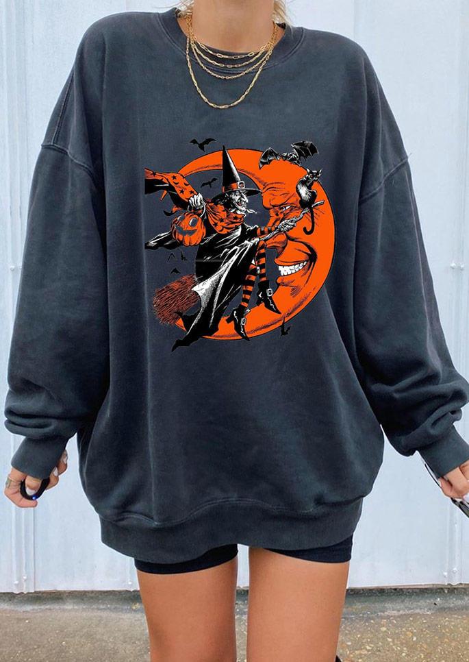 Halloween Witch Moon Pullover Sweatshirt - Black