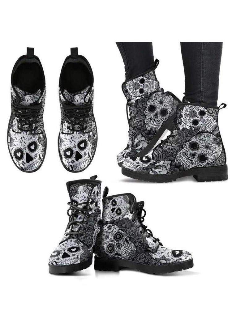 Halloween Skull Rose Ankle Boots - Black