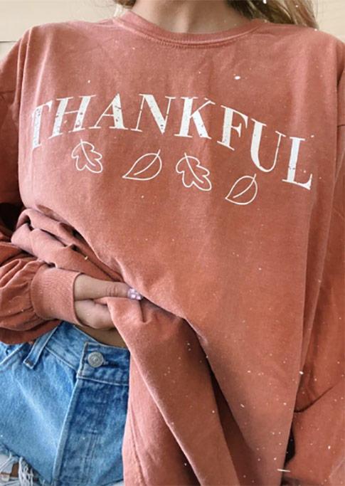 Thankful Leaf LongSleeve Sweatshirt - Orange