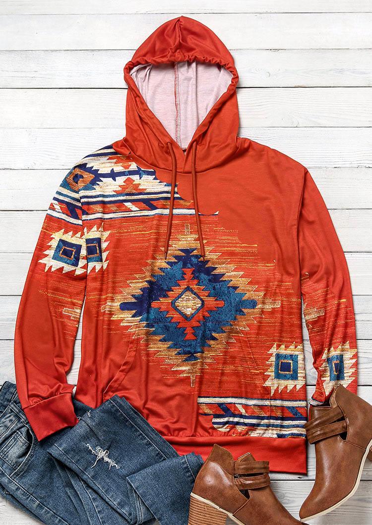 Hoodies Aztec Geometric Kangaroo Pocket Hoodie in Brick Red. Size: S,M,L,XL