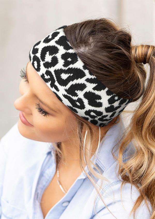 Cow Striped Leopard Elastic Wide Headband