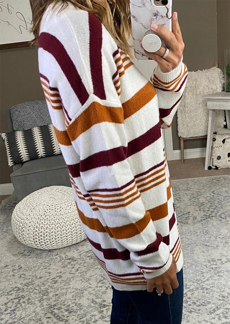 Colorful Striped LongSleeve O-Neck Sweater