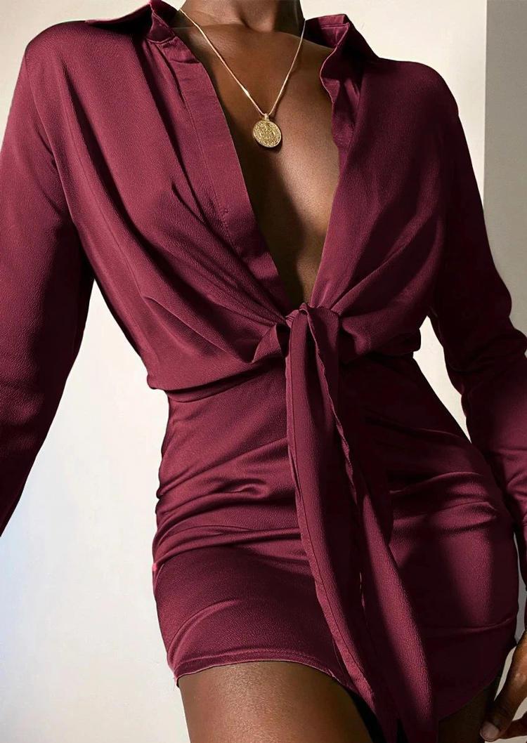 Tie Turn-down Collar Long Sleeve Mini Dress - Burgundy