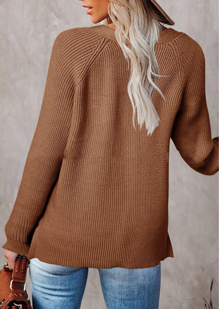 Button Knitted LongSleeve V-Neck Sweater - Khaki