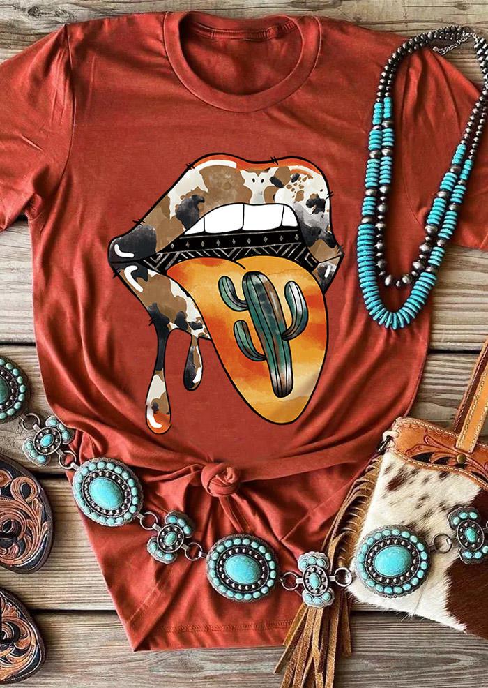 Cactus Lips Cow T-ShirtTee - Orange