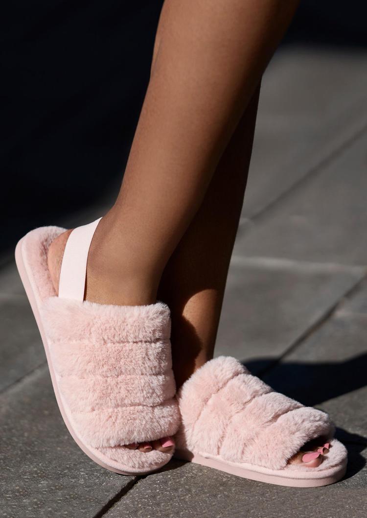 Faux Fuzzy Open Toe Slippers - Pink