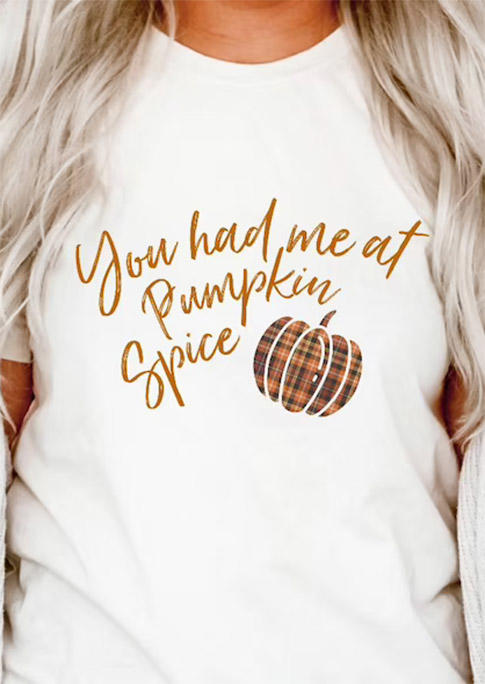 You Had Me At Pumpkin Spice Plaid T-ShirtTee - White