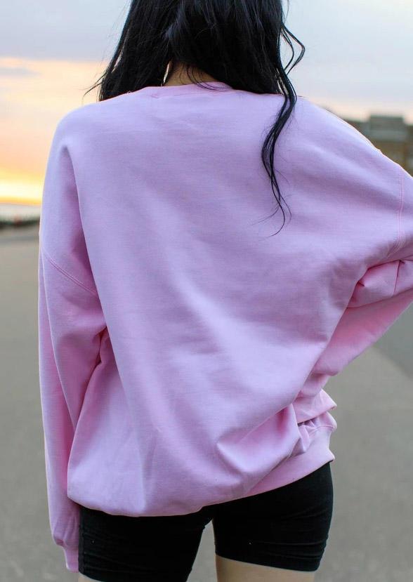 Mermaid Heart O-Neck Sweatshirt - Pink