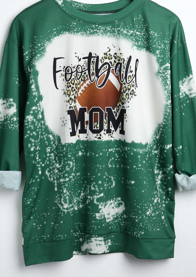 Sweatshirts Mom Football Leopard Bleached Sweatshirt in Green. Size: S,M,L,XL