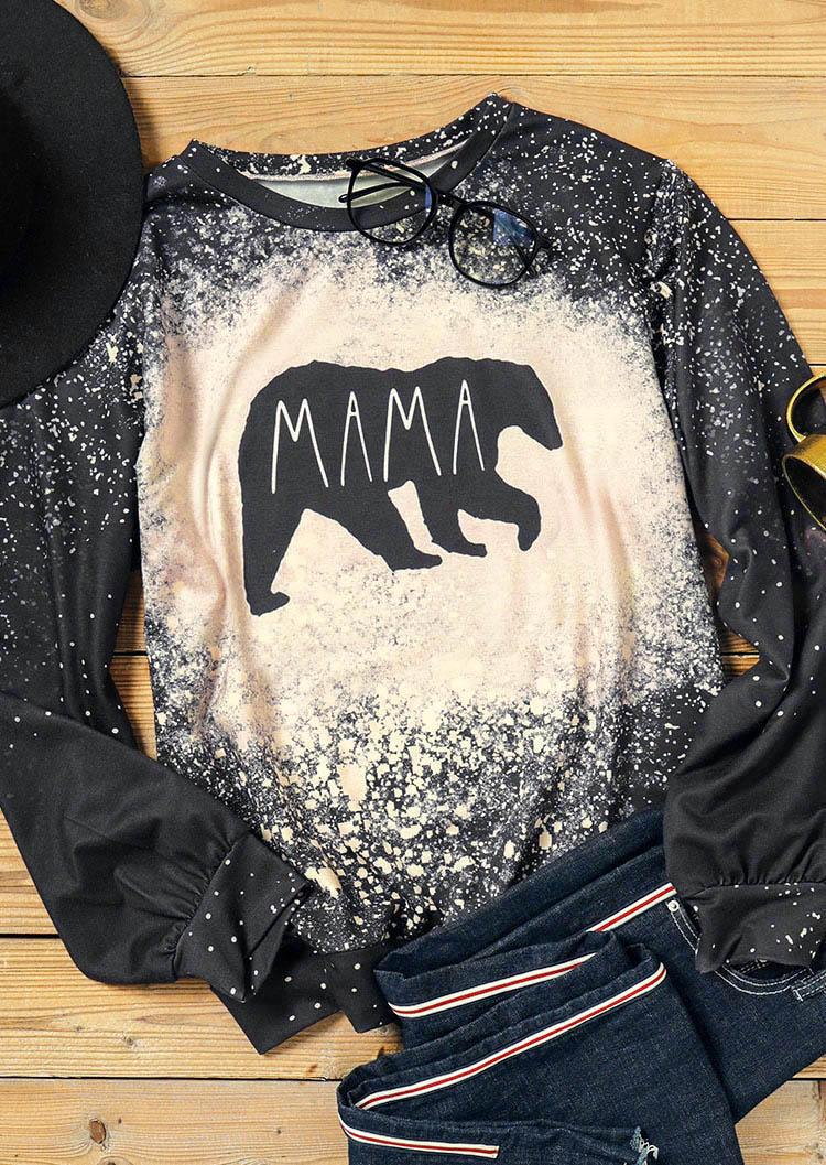 Mama Bear Bleached LongSleeve Sweatshirt - Black