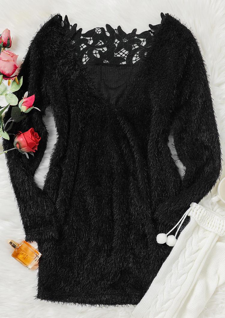 Hollow Out Floral Open Back LongSleeve Mini Dress - Black