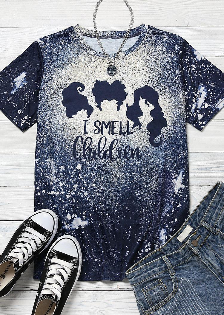 Halloween I Smell Children Hair Bleached T-ShirtTee - Navy Blue