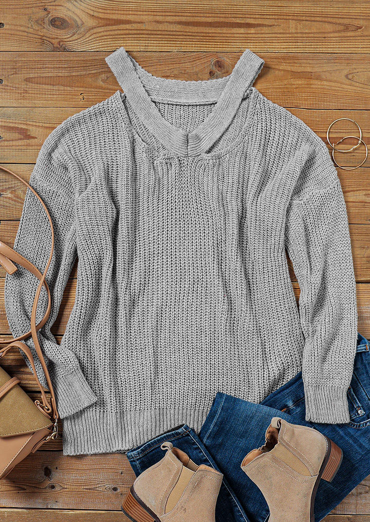 Hollow Out V-Neck Casual Sweater - Gray