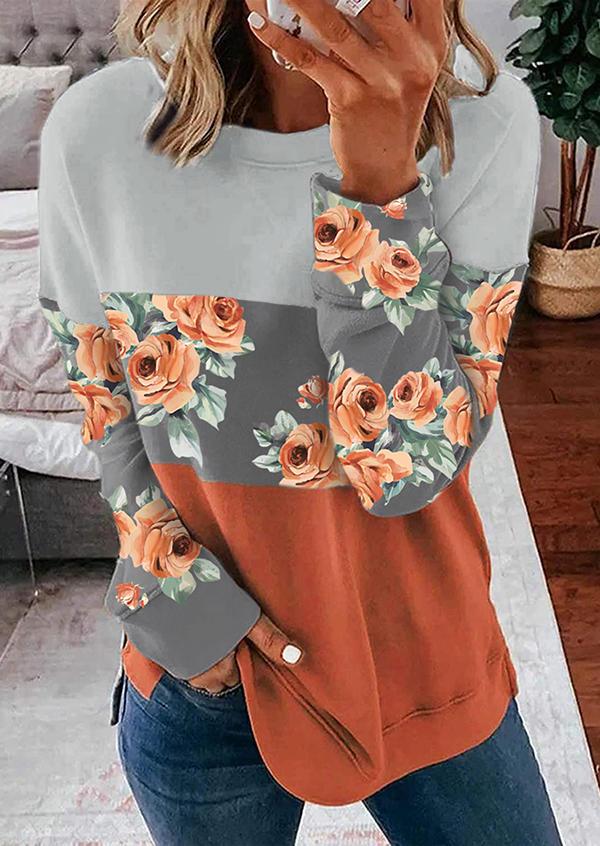 Floral Color Block Splicing LongSleeve Sweatshirt