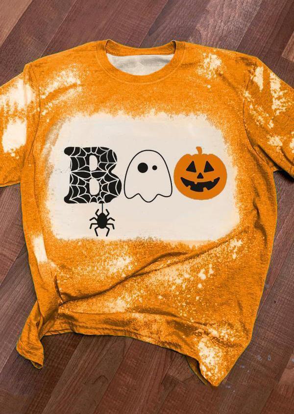 Halloween Boo Pumpkin Spider Bleached T-ShirtTee - Yellow