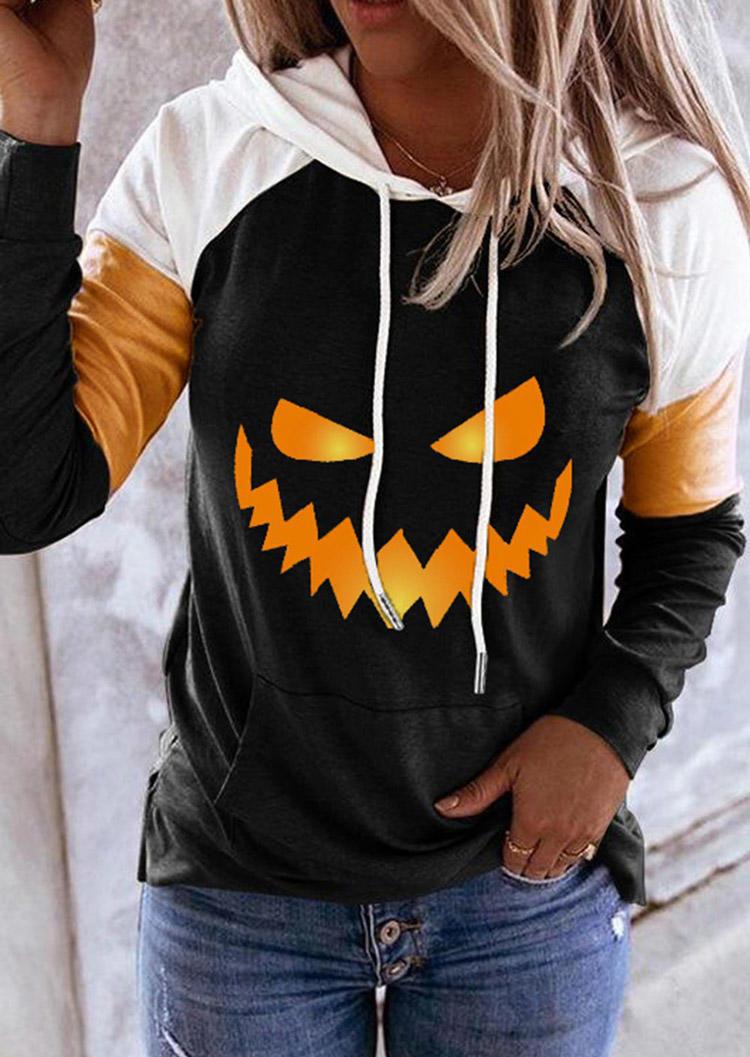 Halloween Pumpkin Color Block Kangaroo Pocket Hoodie - Black
