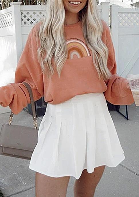 Rainbow Pullover LongSleeve Sweatshirt - Orange