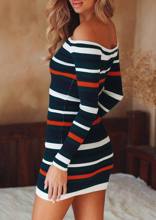 Striped Off Shoulder Long Sleeve Bodycon Dress