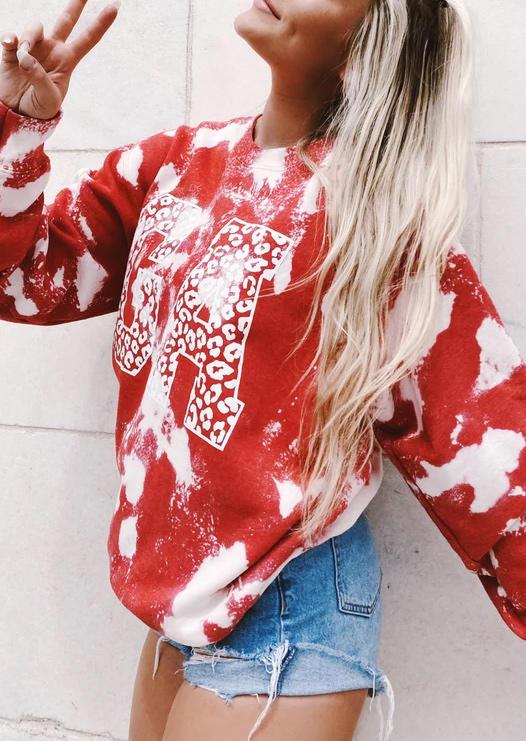 GA Lips Tie Dye Sweatshirt - Red