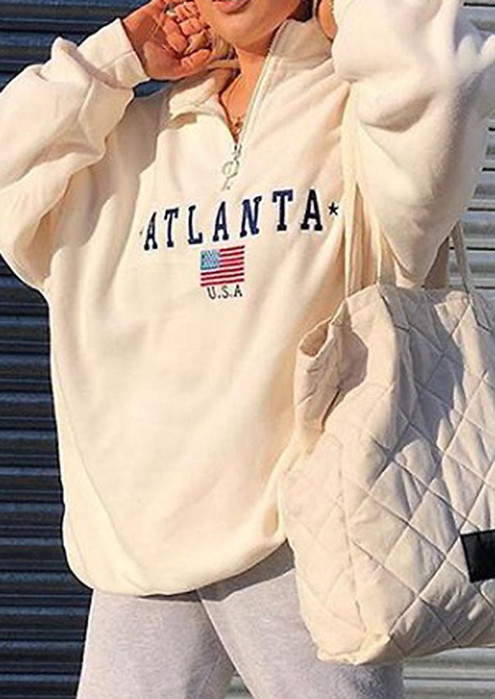 Atlanta American Flag Zipper Sweatshirt - White