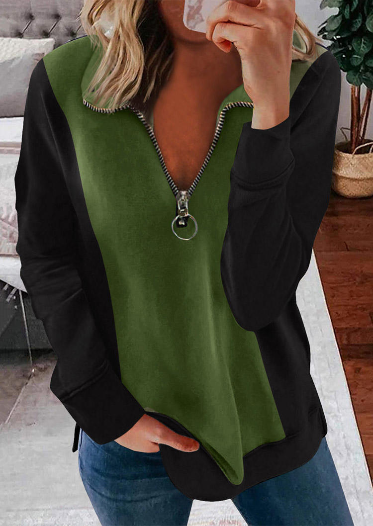 Zipper Color Block Pullover Blouse - Army Green