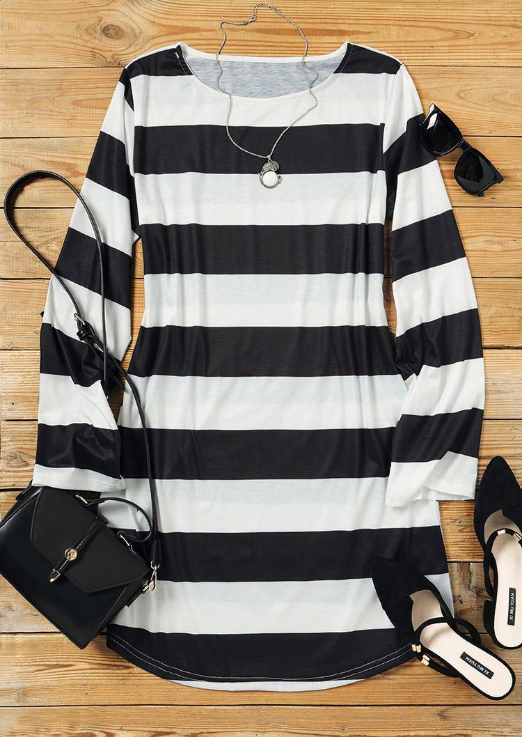 Striped LongSleeve O-Neck Mini Dress