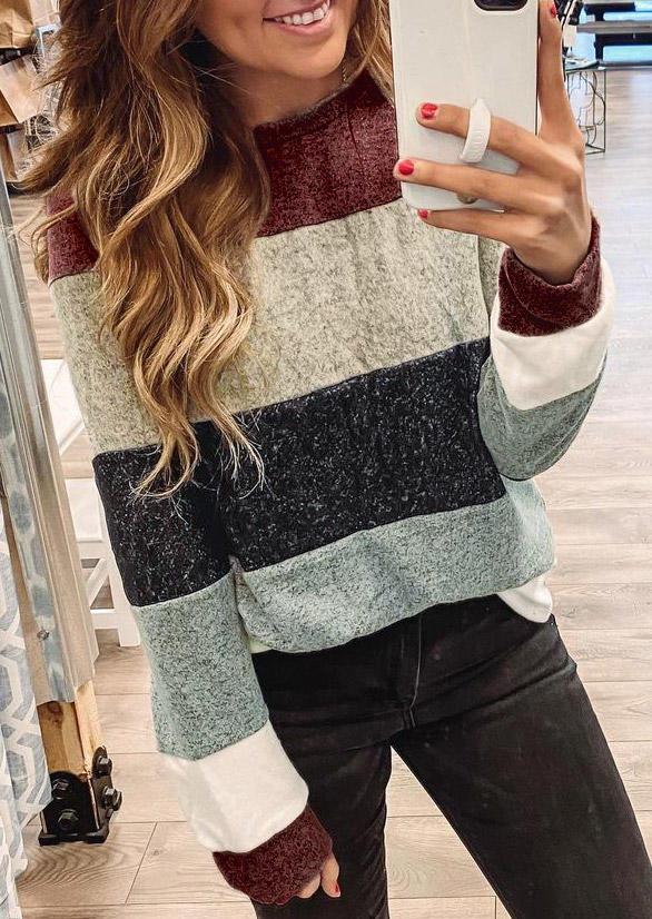 Color Block O-Neck Long Sleeve Blouse
