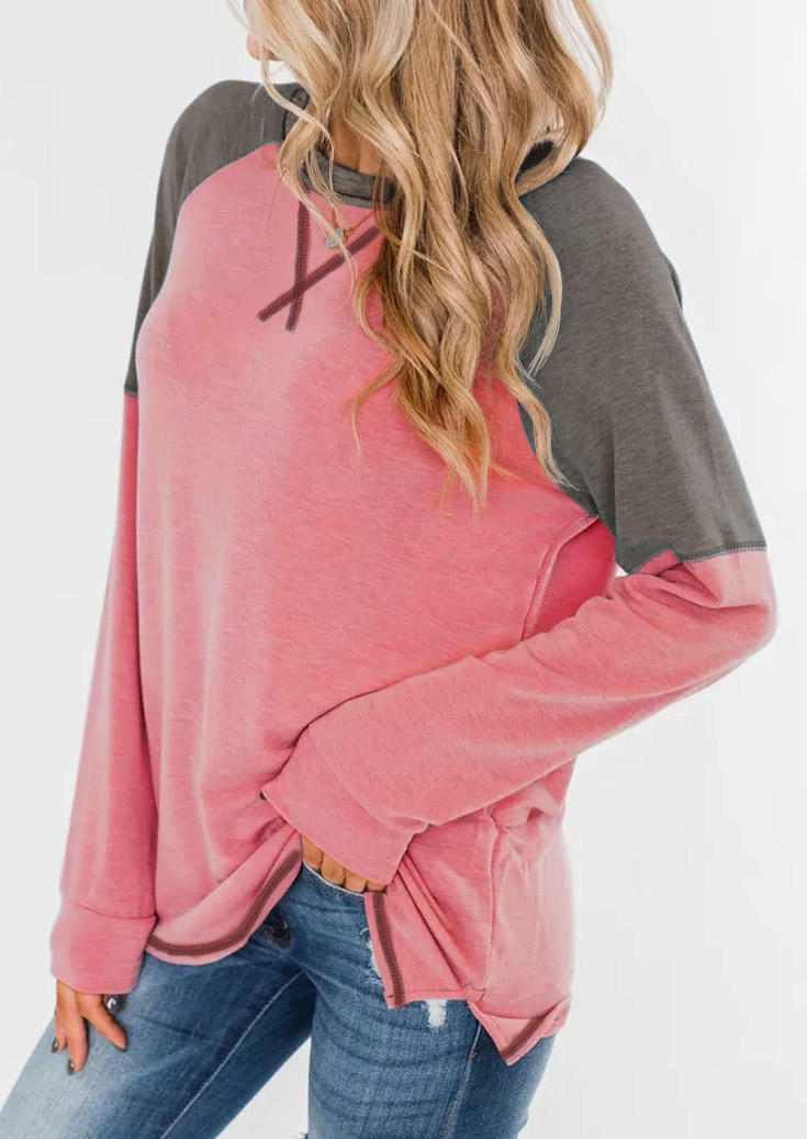 Color Block LongSleeve O-Neck Blouse - Watermelon Red