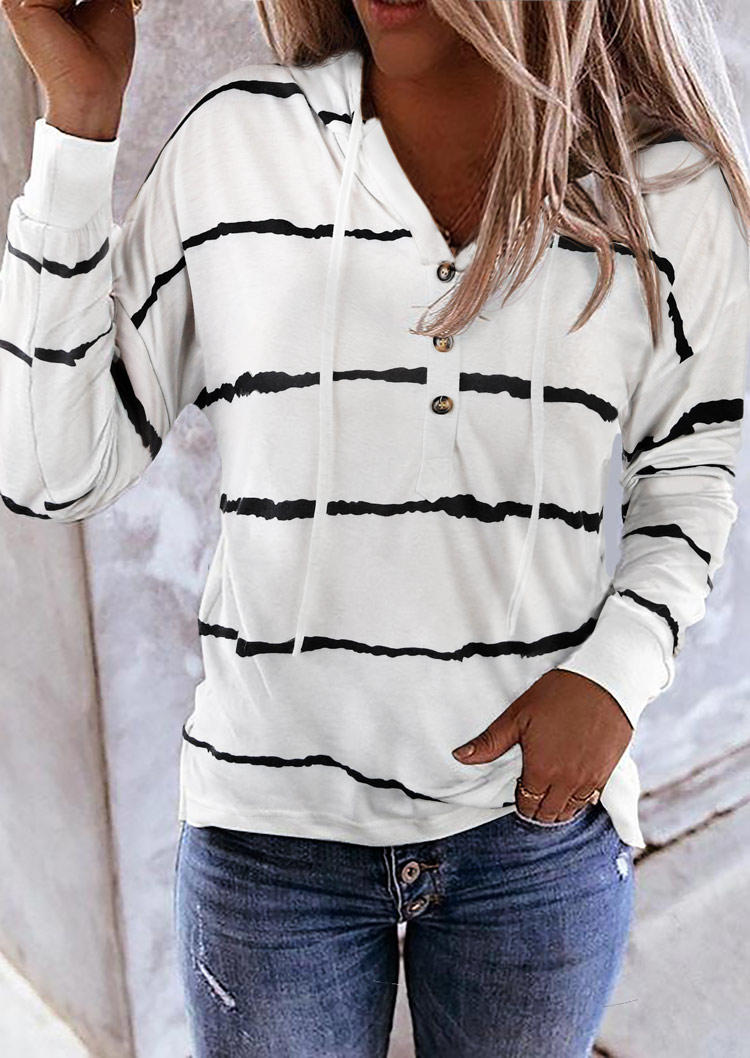 Striped Drawstring Button Long Sleeve Hoodie - White