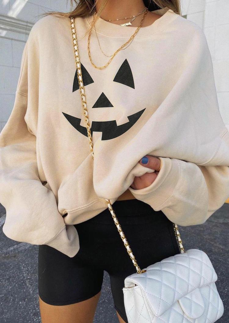 Halloween Pumpkin Face Drop Shoulder Sweatshirt - Black