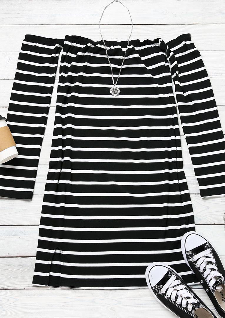 Striped Off Shoulder Slit Mini Dress