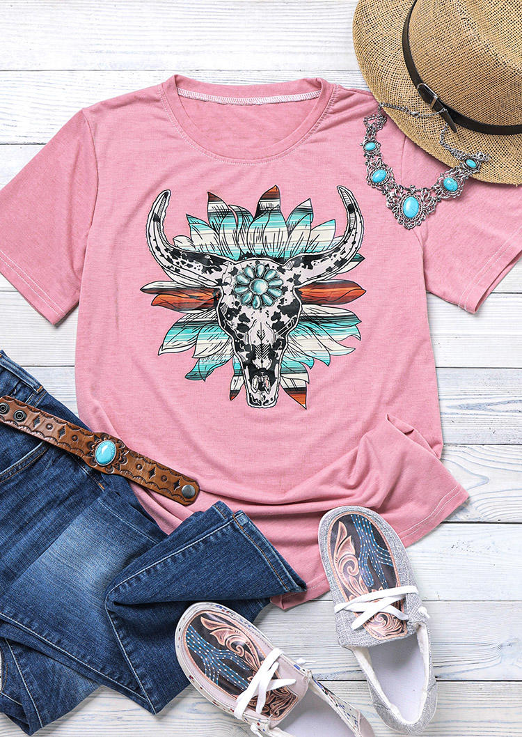 SteerSkull Turquoise T-ShirtTee - Pink