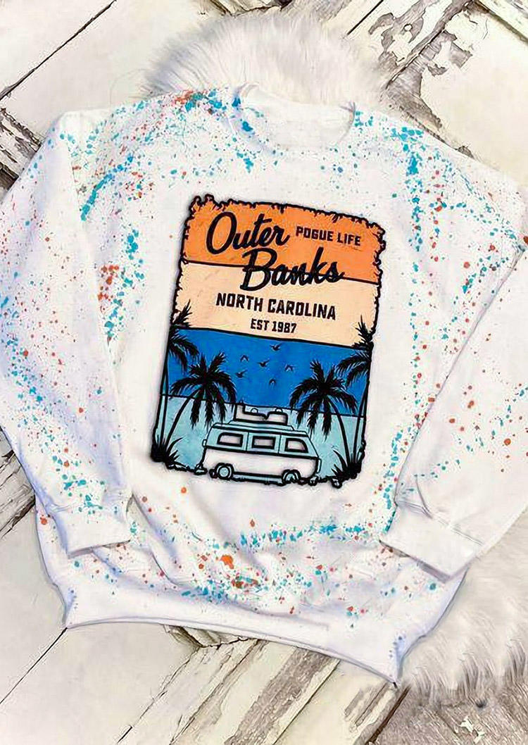 Sweatshirts Outer Banks North Carolina Bleached Sweatshirt in White. Size: S,M,L,XL