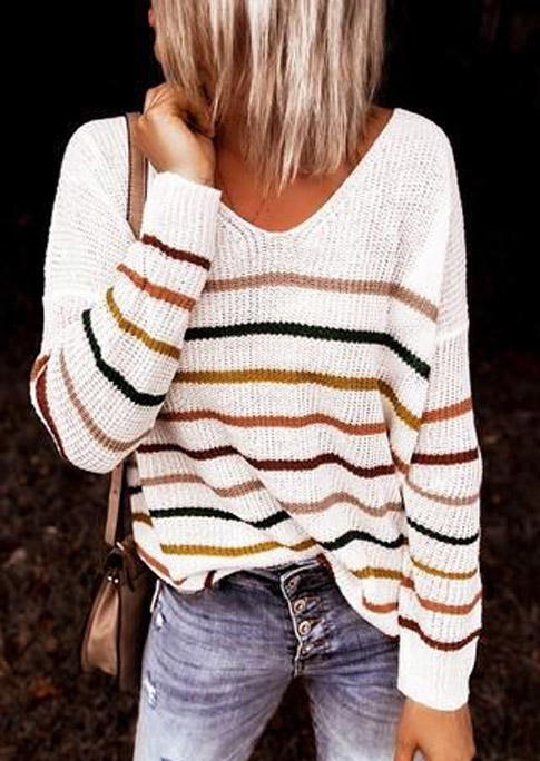 Colorful Striped Long Sleeve Sweater - Gray