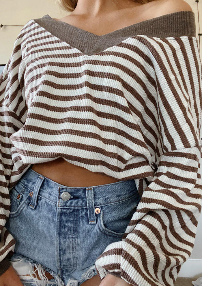 Striped V-Neck Drop Shoulde Sweater