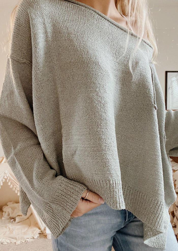 Pocket Long Sleeve Loose Sweater - Gray