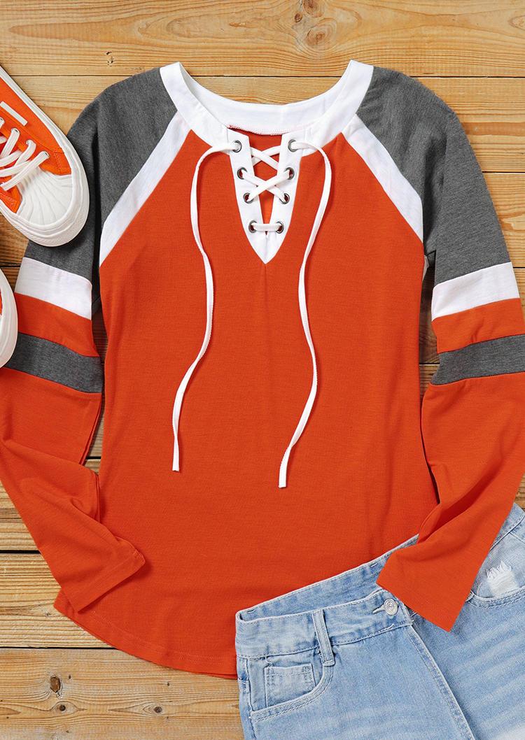 Striped Lace Up Raglan Sleeve Blouse - Orange