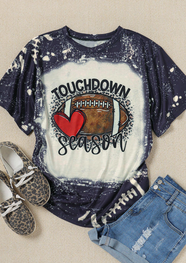 Touchdown Season Football Heart Bleached T-ShirtTee - Dark Grey