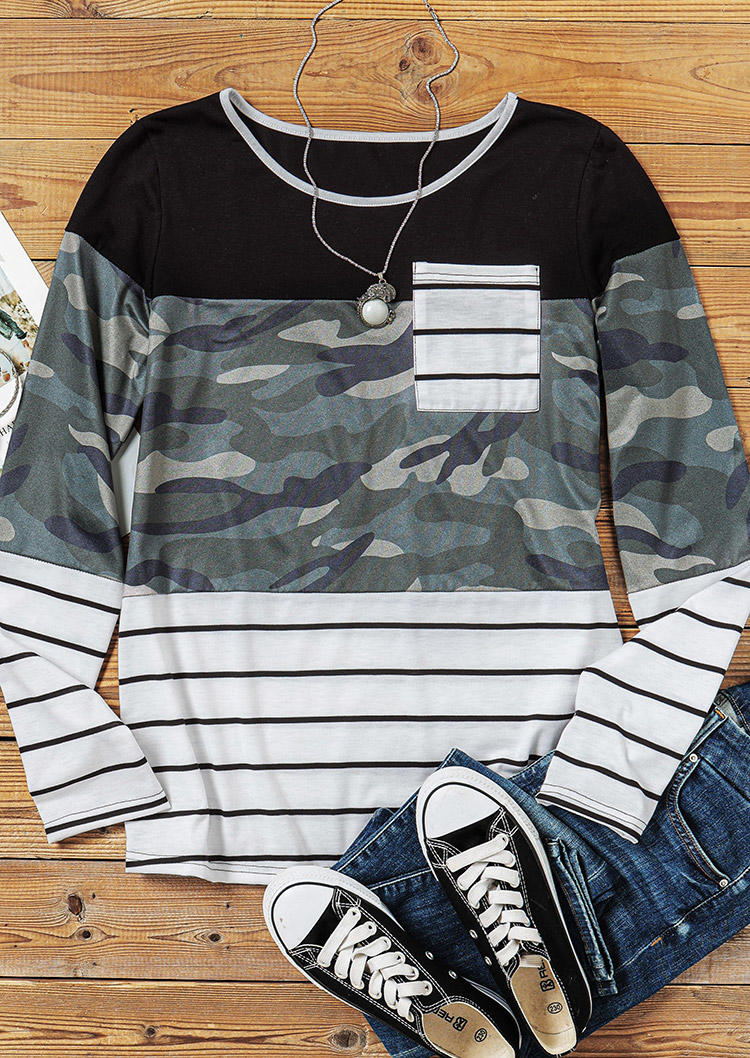 Camouflage Striped Pocket Long Sleeve Blouse
