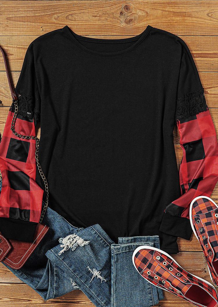 Lace Plaid Long Sleeve Blouse - Black